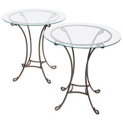 Pair of Wrought Iron Side Tables, France, circa 1940s