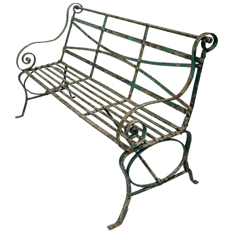 Early 19th Century Wrought Iron Garden Bench, England, circa 1820 1