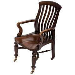 19th Century Elm Desk Chair England, circa 1850
