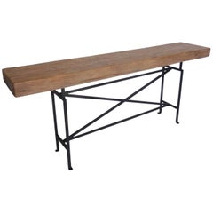 Dos Gallos Reclaimed Wood Console or Sofa Back Table with Hand Forged Iron Base