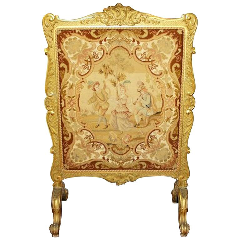 Antique French Louis XV Style Carved Giltwood and Needlepoint Fire-Screen