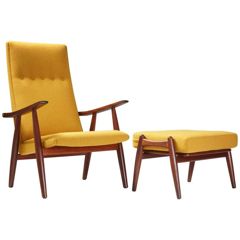 Hans Wegner GE 260 Teak Chair And GE 240 Ottoman At 1stdibs