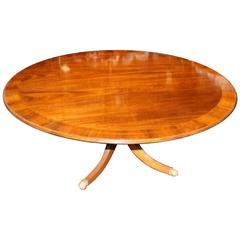 Old English Sheraton Style Inlaid Figured Solid Mahogany Circular Dining Table