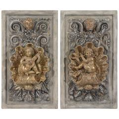 Pair of Italian Baroque Style Carved Wall Plaques