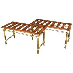 Pair of English Luggage Racks of Oak and Brass