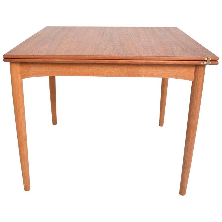 Danish Modern Teak Folding Dining Table For