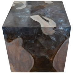 Andrianna Shamaris St. Barts Teak Wood Side Table with Resin