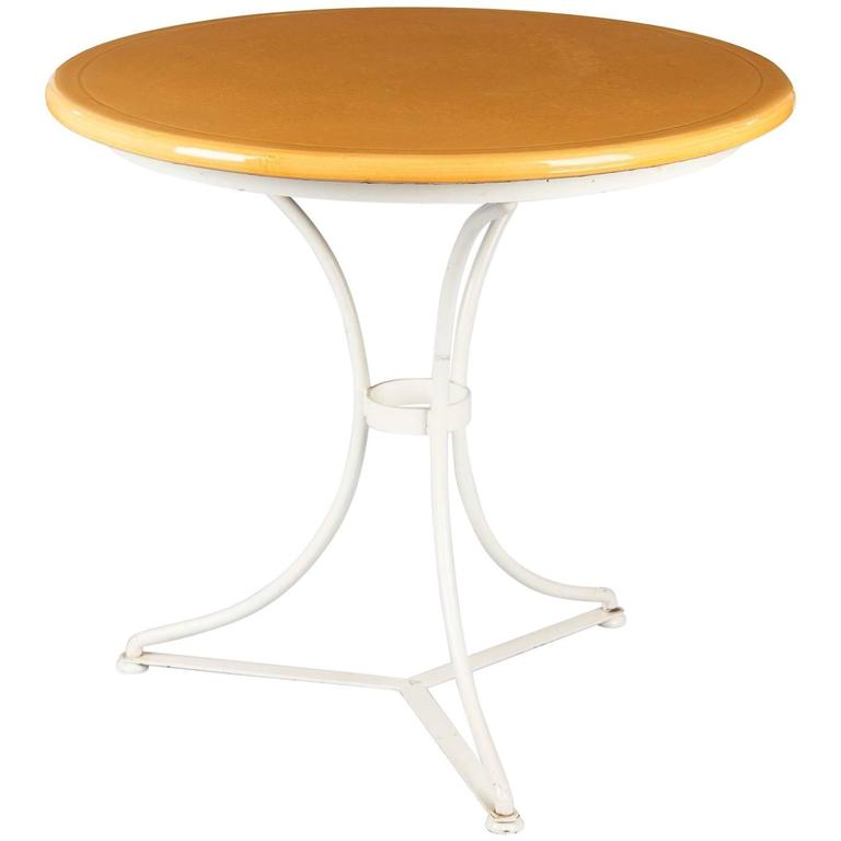 French Round Iron Table with Enameled Lava Top, 1960s