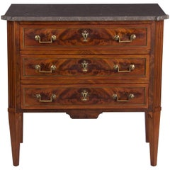 Louis XVI Style Marble-Top Burl Walnut Chest of Drawers, Early 1900s
