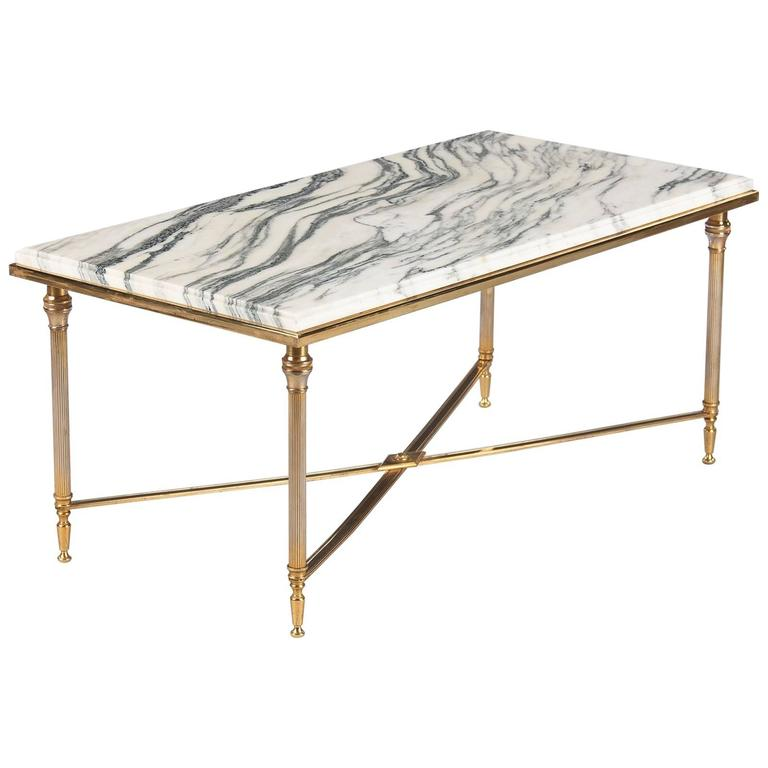 Mid Century Brass Marble Round Coffee Table: Mid-Century French Brass Coffee Table With Marble Top