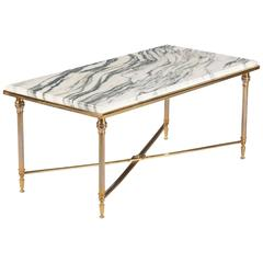 Mid-Century French Brass Coffee Table with Marble Top, 1960s
