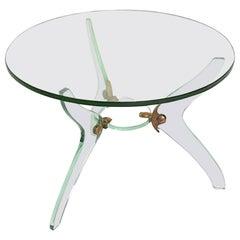 Glass and Bronze Coffee Table Attributed Fontana Arte Italian Mid-Century Modern
