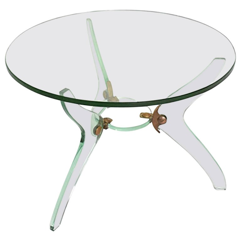 Glass and Bronze Coffee Table Attributed Fontana Arte Italian Mid-Century Modern For Sale
