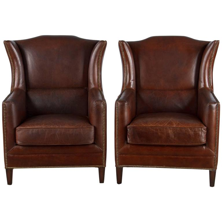 Pair of French Leather Wingback Armchairs, 1980s For Sale