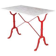Mid-Century Marble Top Bistro Table with Red Iron Base by Godin, 1950s