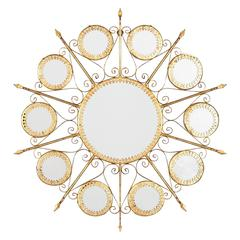 Gilded Metal Sunburst Mirror, Spain, 1950s