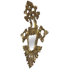Antique Italian Rococo Style Giltwood Arched Top Mirror