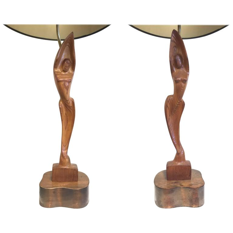 Pair of Sculpted Figural Lamps by Heifetz