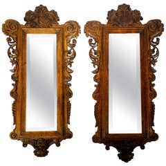 19th Century Antique Italian Pair Carved Mirrors Valentino Besarel Circa 1870