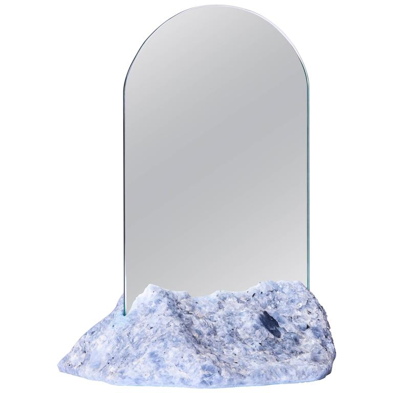 Aura Mirror by Another Human, Contemporary Crystal Vanity Mirror in Blue Calcite For Sale