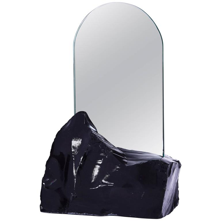 Aura Mirror by Another Human, Contemporary Crystal Vanity Mirror in Obsidian