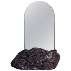 Aura Mirror by Another Human, Contemporary Crystal Vanity Mirror in Basalt