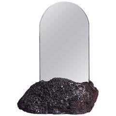 Aura Mirror by Another Human, Contemporary Crystal Mirror, Basalt