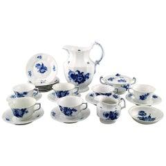 Six Persons Royal Copenhagen Blue Flower Angular Chocolate Service