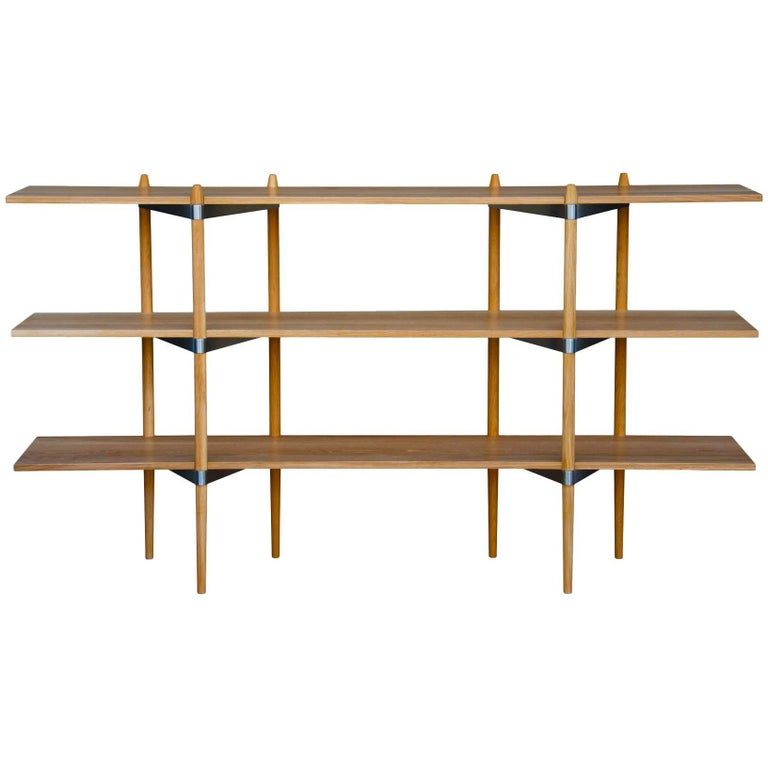 "Casey Lurie Modern Low ""Primo"" Shelving System in White Oak with Stainless Steel For Sale"