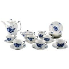 Six Persons Royal Copenhagen Blue Flower Angular Coffee Service