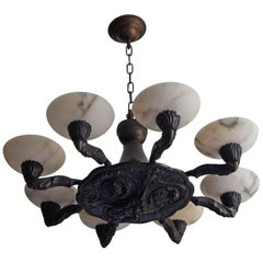Early Twentieth Century Renaissance Style Bronze Chandelier & Alabaster Shades