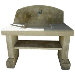 Stone Summer Kitchen with Sink, Pediment, Legs and Shelf