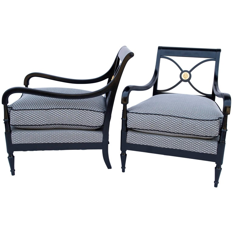 Pair of Directoire Style Black Lacquer Armchairs, 1970