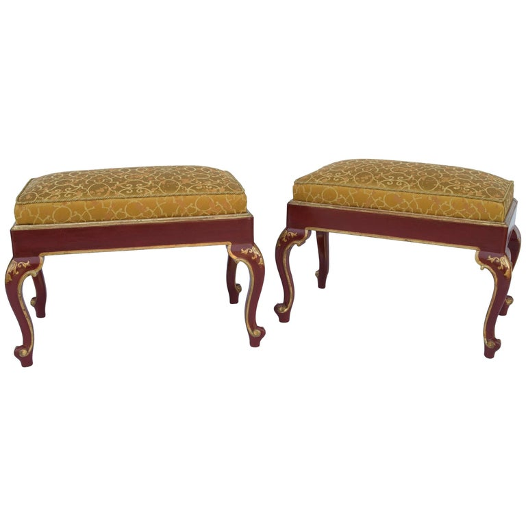 Pair of Louis XV Style Red Lacquer Stools, 1950 Period