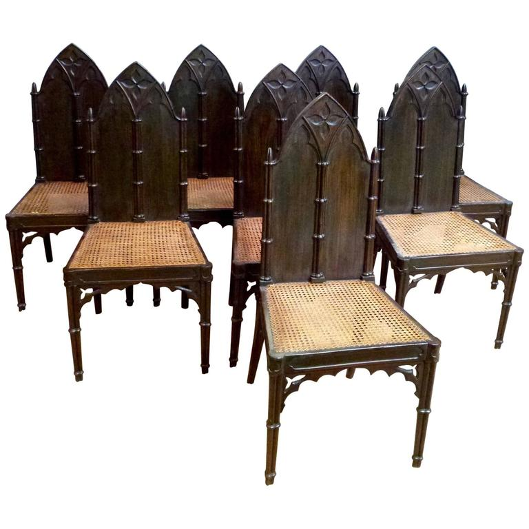 Set Of Eight Regency Gothic Hall Chairs At 1stdibs