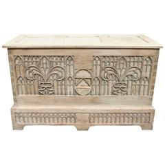 Limed Oak Small Gothic Style Coffer