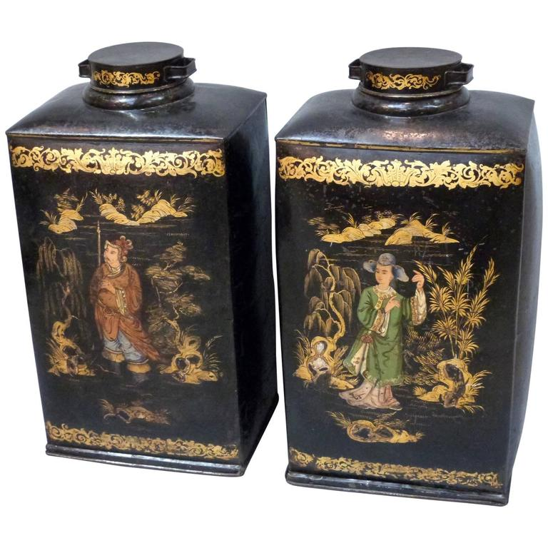 Pair of Large and Rare 19th Century Chinoiserie Tea Canisters 1