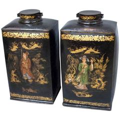 Pair of Large and Rare 19th Century Chinoiserie Tea Canisters