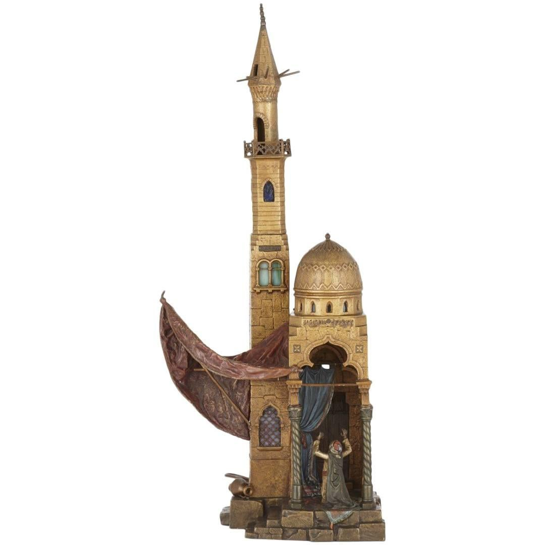 Cold Painted Antique Viennese Bronze Orientalist Style Lamp by Bergman