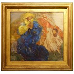 Judith Beheading Holofernes, Oil on Paper Dated 1919 Illegible Signature