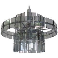 Italian Midcentury Smoked Glass Chandelier, Max Ingrand, Fontana Arte Style