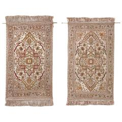 Fine Pair of Silk and Metal Thread Antique Patterned Turkish Rugs from Hereke