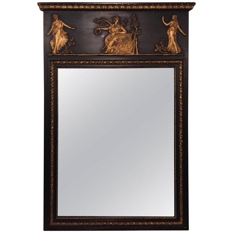 Ebonized Neoclassical Mirror by Friedman Bros