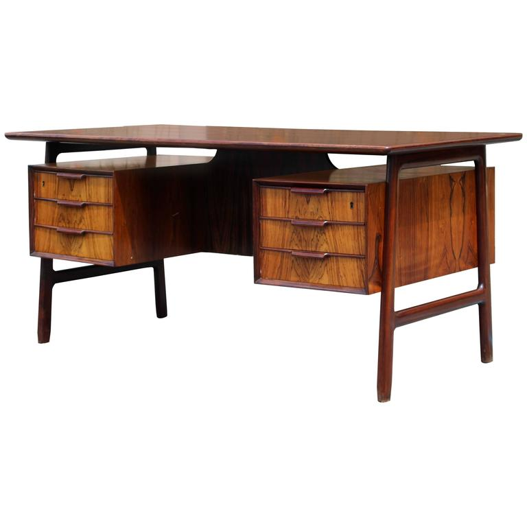 Mid century modern danish rosewood floating top desk by for Floating desk for sale