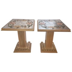 Grosfeld House Reverse Painted Mirror Top Column Sidetables