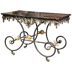 Mid-20th Century French Iron Butcher Pastry Table on Wheels with Black Marble