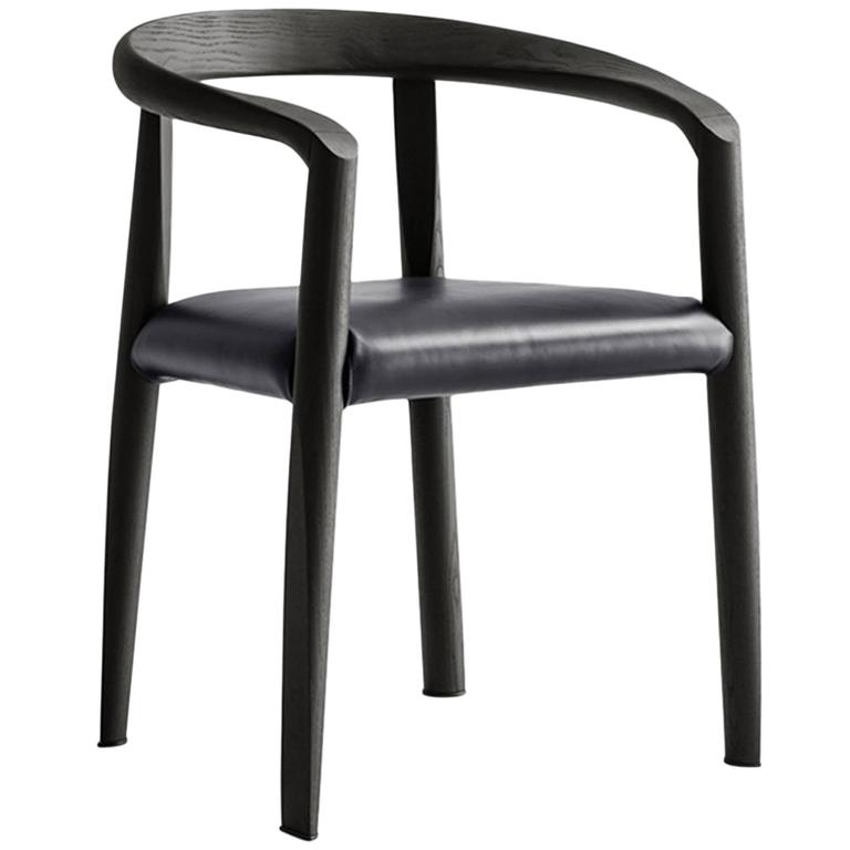 Molteni Miss Dining Armchair in Black Tinted Ash with Leather Seat For Sale