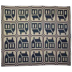 Blue and White Calico Schoolhouse Patchwork Quilt