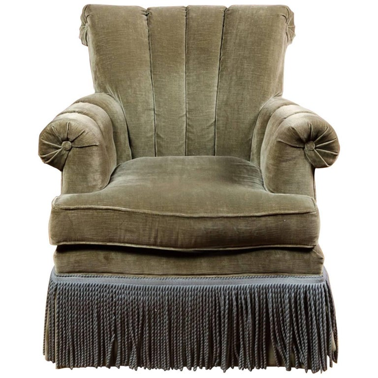 Clic And Comfortable Channel Back Club Chair With Fringe Detail For