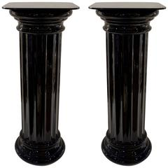 1960s Rare Pair of Italian Art Deco Black Glass Round Columns